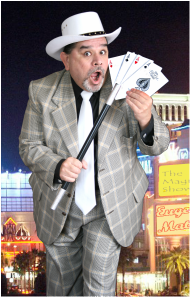 Bensons Agency Magician with playing cards and wand