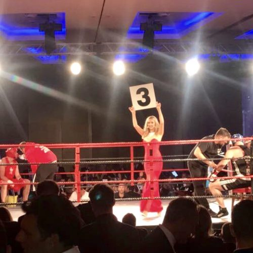 ring girls or walk-on girls at charity fight night London