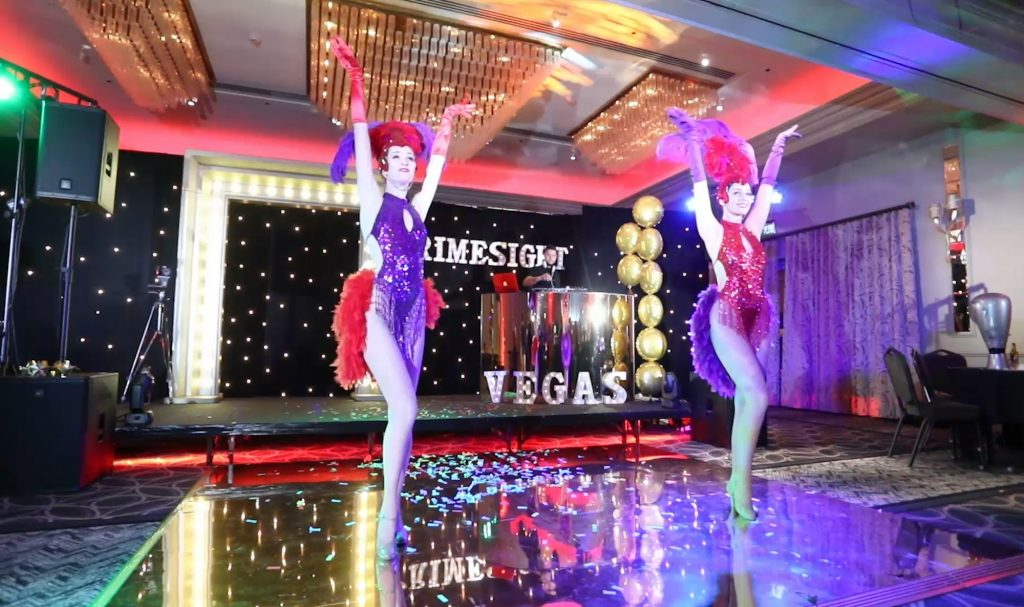 Showgirls performing dance routine