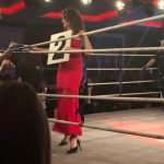 Ring Girl in red dress holding number board